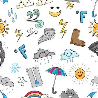 Симпатичные элементы погоды в стиле каракули
