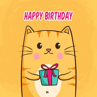 С днем рождения концепция с каваи или милый кот, держа подарочной коробке