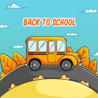 Обратно в школу иллюстрация с автобусной школой и красочной осенью