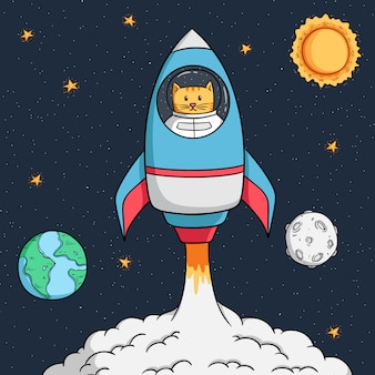 離陸する準備ができている宇宙ロケットの宇宙飛行士猫
