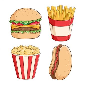 Набор нездоровой пищи, гамбургер, картофель фри, поп-корн и хот-дог с цветной рисованной стиле