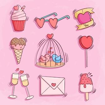 ピンクのかわいいバレンタイン落書きアイコンのセット
