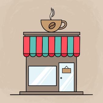 Милое здание кафе для иконок или элементов с плоским дизайном