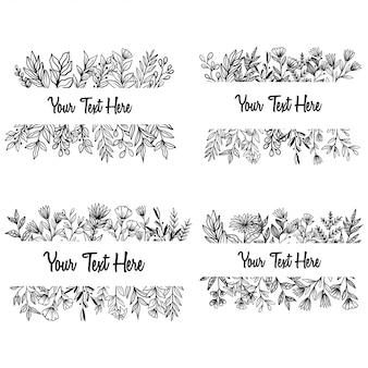 手描き春花と招待状の葉フレーム