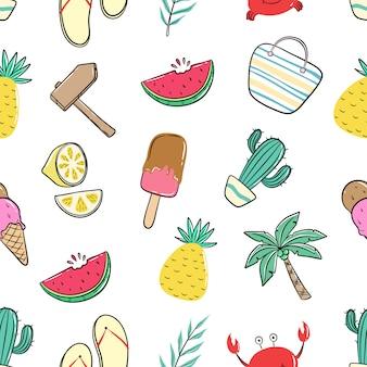 Бесшовные модели летних иконок с цветными каракули стиль
