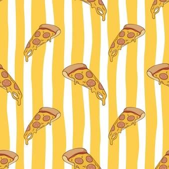 Бесшовные модели вкусной расплавленной пиццы с цветным каракули стилем