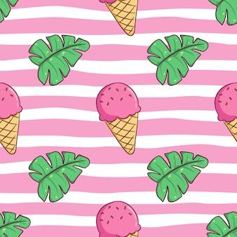 Бесшовный узор милого мороженого с летними листьями