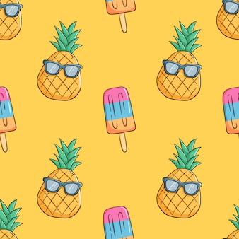 Рисованной ананас носить солнцезащитные очки с мороженым в бесшовные модели