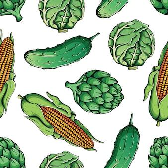 トウモロコシ、キャベツ、アーティチョーク、キュウリの色づけされた手描きのスタイルのシームレスなパターン