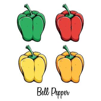 白い背景にテキストまたは名前と色の緑赤い黄色とオレンジのピーマンのセット
