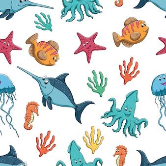 白い背景にカラフルなかわいい魚や海の動物のシームレスなパターン