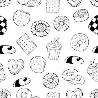 ビスケットとクッキーの食品は、シームレスなパターンで手描きのスタイル