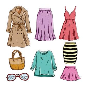 Цветной эскиз женской одежды и аксессуаров на белом фоне