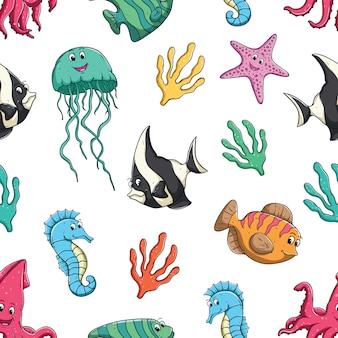 シームレスなパターンでかわいい海の動物