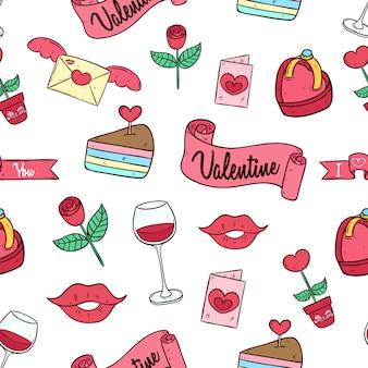 色付きの落書きアートとのシームレスなパターンでかわいいバレンタインアイコン