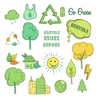 着色された落書きスタイルを持つエコロジーと環境の概念