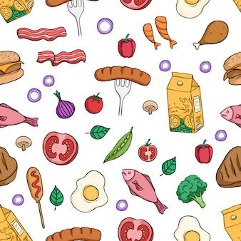 色の落書きスタイルで健康的な朝食用食品のシームレスパターン