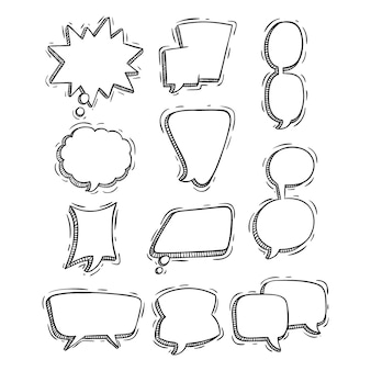 Набор рисованной или каракули стиль речи пузыри