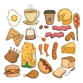 着色された落書きや手描きのスタイルで昼食のための健康食品のセット