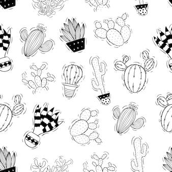 シームレスパターンの鍋でサボテンの植物のスタイルをスケッチします。