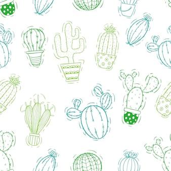 サボテンのシームレスなパターンを落書きやスケッチ