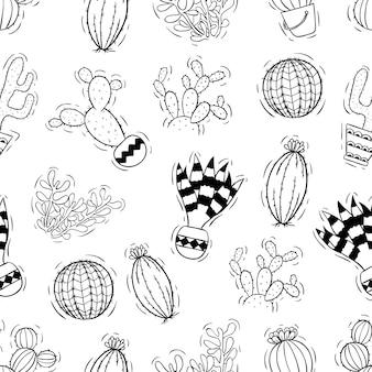 手描きサボテンのシームレスパターン