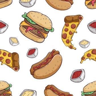ハンバーガーピザと色付きの手描きスタイルのホットドッグのシームレスパターン