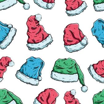 着色された手描きスタイルのクリスマス帽子のシームレスパターン