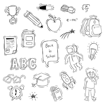 落書きやスケッチスタイルの学校のオブジェクトに戻るのセット