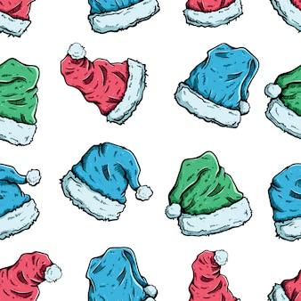 シームレスパターンでクリスマスやサンタクロースの帽子