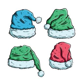 手描きスタイルのクリスマスやサンタクロースの帽子のカラフルです