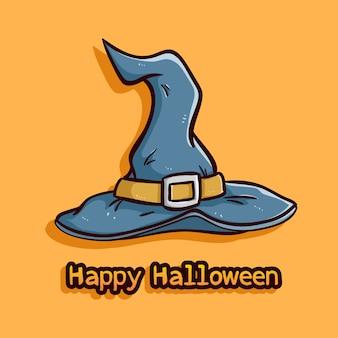 オレンジ色の背景に色の落書きスタイルとハロウィーンの魔女の帽子