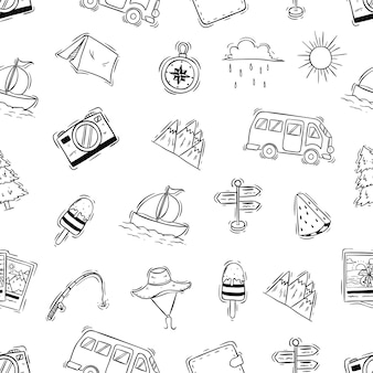 落書きや手描きのスタイルでのキャンプのアイコンのシームレスパターン