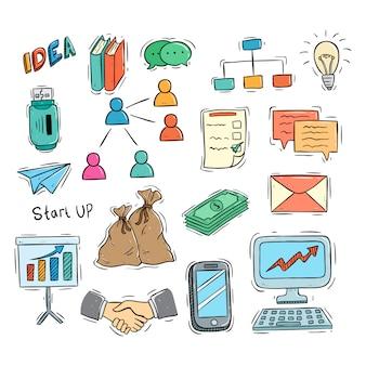 Коллекция каракули бизнес иконок или элементов