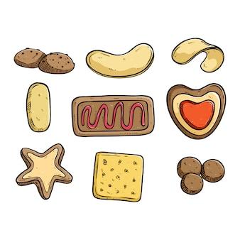 ビスケットやクッキーのコレクションの色の落書きスタイル