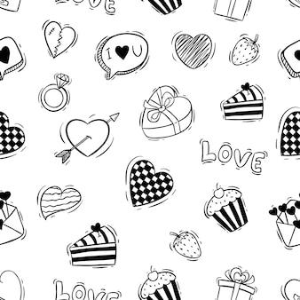 落書きスタイルのかわいいバレンタインアイコンのシームレスパターン
