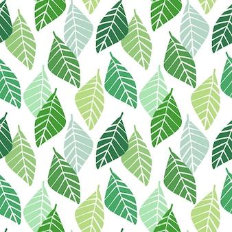 幾何学的な葉とのシームレスなパターンベクトル。
