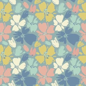 手でシームレスなパターンベクトル描画野生の花、カラフルな植物園