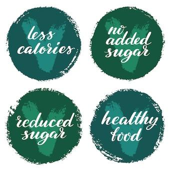 Набор меток здоровой пищи. продукт этикетки или наклейки.