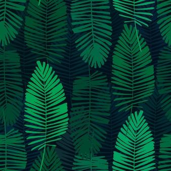 熱帯の葉、ジャングルのパターン。パームの葉でシームレスな植物のパターン。ベクターバック