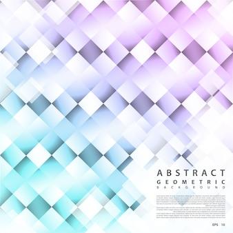 幾何学的構造化された背景。光の効果と四角形のベクトルの抽象的な背景