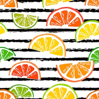 柑橘類のスライスとベクトルシームレスパターン