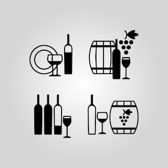 ワインのアイコンのセット