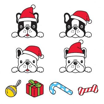 Собака французский бульдог рождество санта-клаус шляпа карикатура иллюстрации