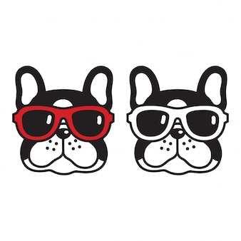 犬ベクトルフレンチブルドッグサングラス子犬漫画