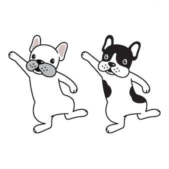 犬ベクトルフレンチブルドッグ子犬ダンス漫画