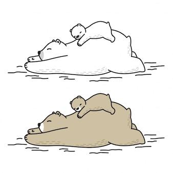 Медведь вектор белый медведь спит малыш мультфильм