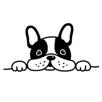 Собака вектор французский бульдог домашнее животное щенок мультфильм