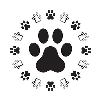 犬の足の足跡
