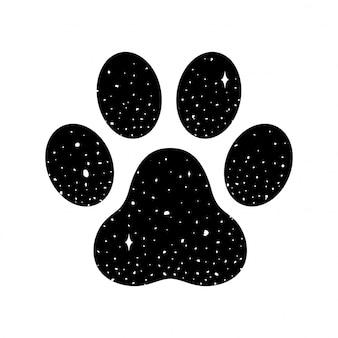 犬の足のベクトルの足跡
